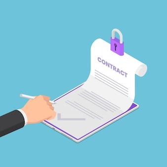 Platte 3d isometrische zakenman hand aanmelden op elektronisch contract. elektronisch contract of digitale handtekening concept.