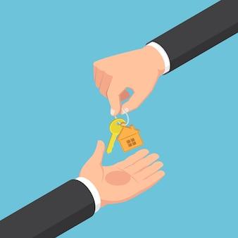Platte 3d isometrische zakenman hand geven sleutelhanger met gouden huissleutel. vastgoedconcept.