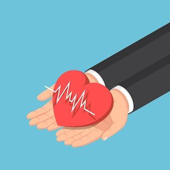 Platte 3d isometrische zakenman hand met rood hart met elektrocardiografie ecg of ekg lijn. cardiologie of ziektekostenverzekering concept.
