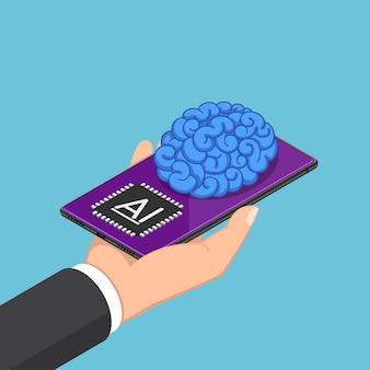 Platte 3d isometrische zakenman hand met smartphone met ai hersenen. kunstmatige intelligentie technologie concept.