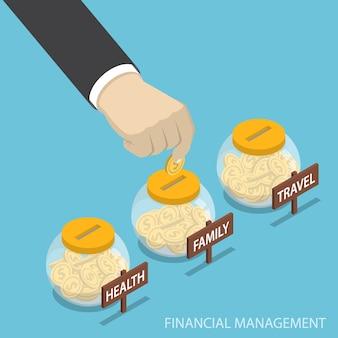 Platte 3d isometrische zakenman hand munt in familie, gezondheid, reisfles, financieel beheer concept