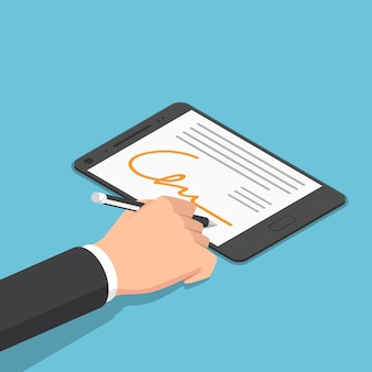 Platte 3d isometrische zakenman hand ondertekening digitale handtekening op tablet. digitale handtekening en e-business concept.