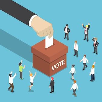 Platte 3d isometrische zakenman hand zet stempapier in de stembus. stem- en verkiezingsconcept.