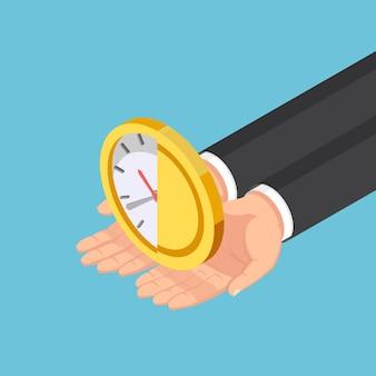 Platte 3d isometrische zakenman handen met de helft van de klok en geld munt. tijd is geldconcept.