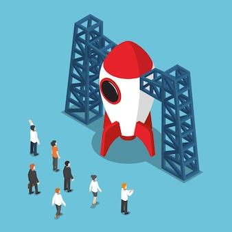 Platte 3d isometrische zakenman kijken naar space shuttle. opstarten bedrijfsconcept.