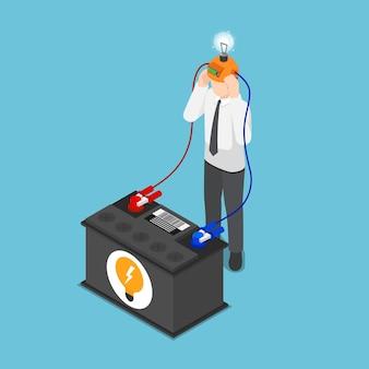 Platte 3d isometrische zakenman laadt zijn idee op van de batterij. idee-concept.