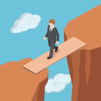 Platte 3d isometrische zakenman lopen op houten brug over de kloof tussen klif. zakelijk succes en oplossingsconcept.