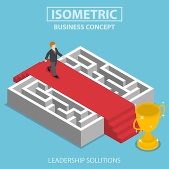 Platte 3d isometrische zakenman lopen op rode loper over het doolhof, bedrijfsoplossing en leiderschap concept