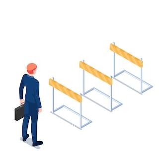 Platte 3d isometrische zakenman met aktetas staande voor hindernisrace hindernis. bedrijfsuitdagingsconcept.