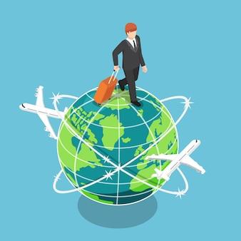 Platte 3d isometrische zakenman met bagage die over de wereld loopt. zakelijk en reisconcept