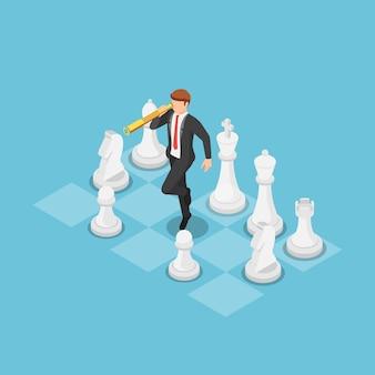 Platte 3d isometrische zakenman met behulp van telescoop en op schaakbord bedrijfsstrategie concept