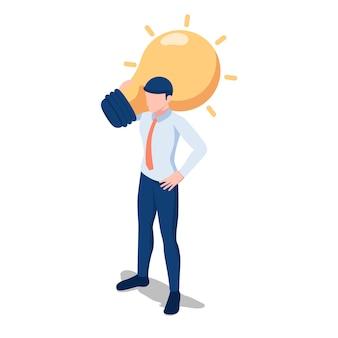 Platte 3d isometrische zakenman met gloeilamp van idee op zijn schouder. bedrijfsidee en oplossingsconcept.