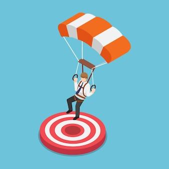 Platte 3d isometrische zakenman met parachute die op het doel landt. succes bedrijfsconcept.