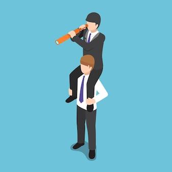 Platte 3d isometrische zakenman rijdt op de schouder van zijn collega en gebruikt een verrekijker. bedrijfsvisie en groepswerkconcept.