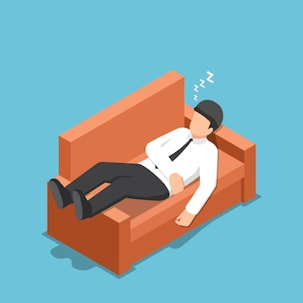 Platte 3d isometrische zakenman slapen op de bank. ontspannend begrip.