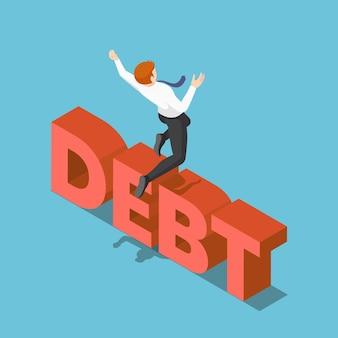 Platte 3d isometrische zakenman springen over de schuld. het overwinnen van schuldconcept.