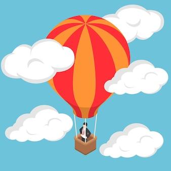 Platte 3d isometrische zakenman staande op hete luchtballon in de lucht.
