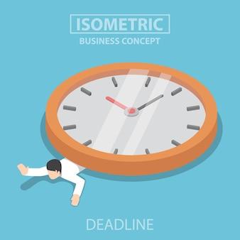 Platte 3d isometrische zakenman staat onder de grote klok. termijn bedrijfsconcept.