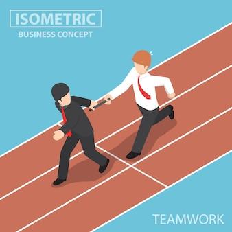 Platte 3d isometrische zakenman stokje doorgeven aan zijn collega in estafette, teamwork concept