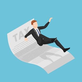 Platte 3d isometrische zakenman uitglijden en vallen op belastingdocument. belastingbetalingsconcept.