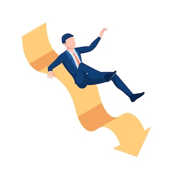 Platte 3d isometrische zakenman uitglijden op dalende grafiek. bedrijfscrisisconcept.
