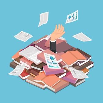Platte 3d isometrische zakenman verdronken in boek en document stapel. informatieoverbelasting en overwerkconcept.