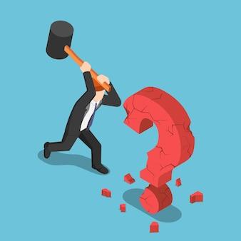 Platte 3d isometrische zakenman vernietigen vraagteken teken. zakelijke oplossing concept.