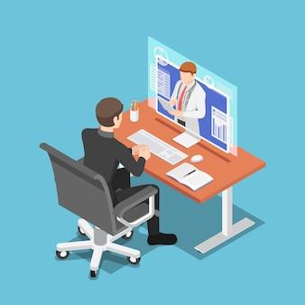 Platte 3d isometrische zakenman videoconferentie met arts op pc-monitor. online medisch consult en telemedicine concept.
