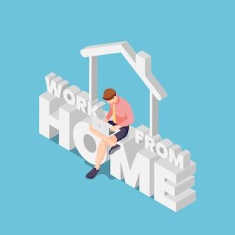 Platte 3d isometrische zakenman werken met laptop en zittend op werk vanuit huis tekst. werk vanuit huis om het covid-19-virusconcept te vermijden.