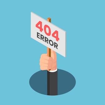 Platte 3d isometrische zakenmanhand komt uit het gat met 404-foutteken. 404-foutpagina niet gevonden concept.