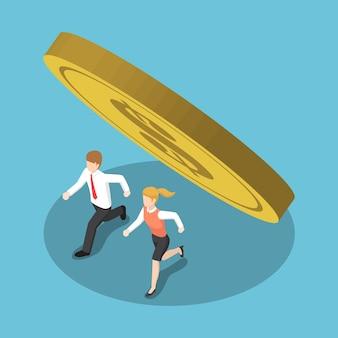 Platte 3d isometrische zakenmensen die weglopen van munt die valt. financieel crisisconcept.