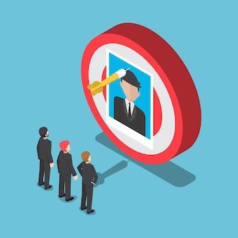 Platte 3d isometrische zakenmensen kijken naar de afbeelding van de zakenman op het doel. aanwervings- en wervingsconcept.