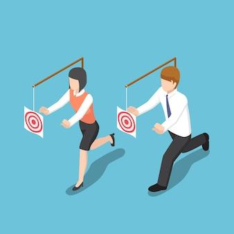 Platte 3d isometrische zakenmensen proberen het doelwit te vangen. zakelijke motivatie en doelconcept.