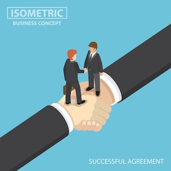 Platte 3d isometrische zakenmensen schudden handen op grote handdruk. partnerschap en succesvol bedrijfsovereenkomstconcept