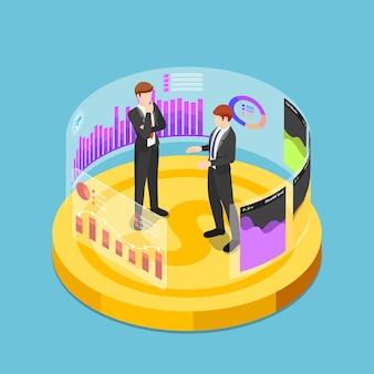 Platte 3d isometrische zakenmensen staan op dollar munt en analyseren zakelijke grafiek grafiek