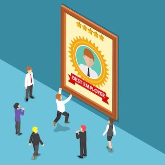 Platte 3d isometrische zakenmensen vieren beste werknemer award. werknemer van de maand-concept