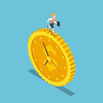 Platte 3d isometrische zakenvrouw draait op de dollar munt klok. tijd is geldconcept.