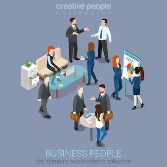 Platte 3d web isometrische kantoorruimte interieur zakenlieden samenwerking teamwerk brainstormen wachten vergadering onderhandeling infographic concept set. creatieve mensencollectie