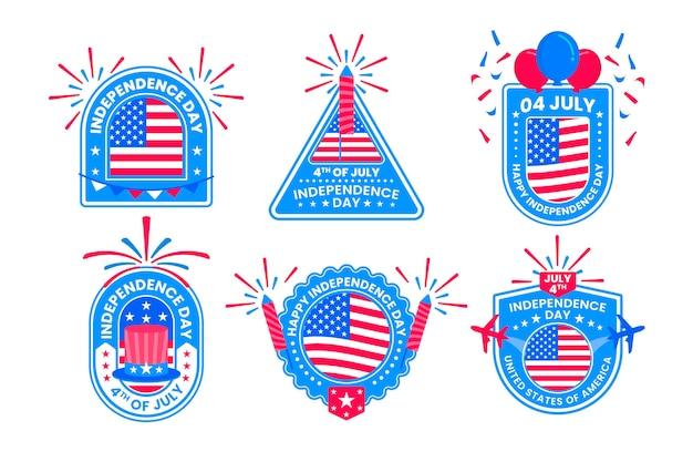 Platte 4 juli - badge-collectie van de onafhankelijkheidsdag