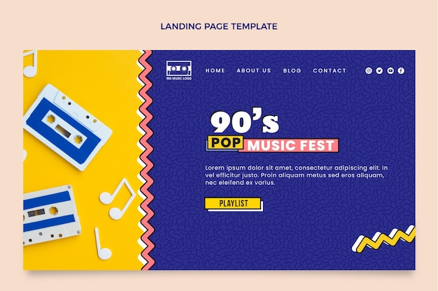 Platte 90s nostalgische muziekfestival bestemmingspagina