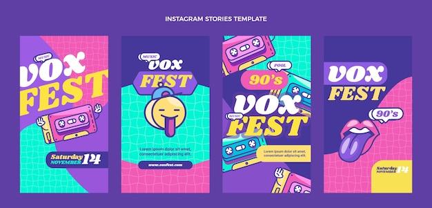 Platte 90s nostalgische muziekfestival instagramverhalen