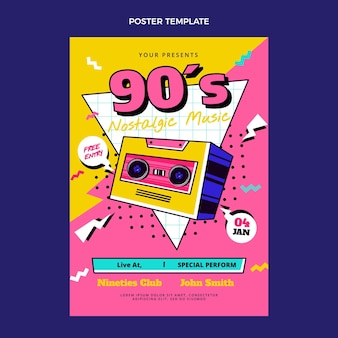 Platte 90s nostalgische muziekfestival poster