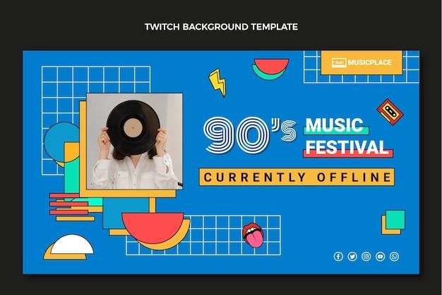 Platte 90s nostalgische muziekfestival twitch achtergrond