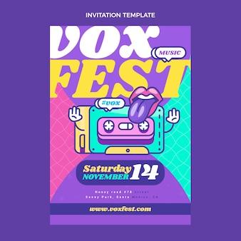Platte 90s nostalgische muziekfestivaluitnodiging