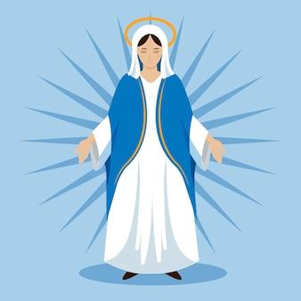 Platte aanname van maria illustratie