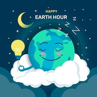 Platte aarde uur illustratie