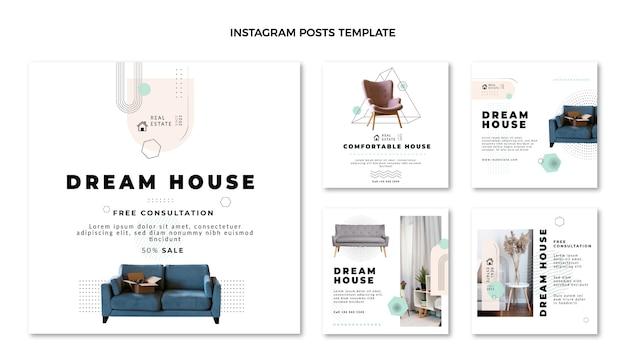 Platte abstracte geometrische onroerend goed instagram post
