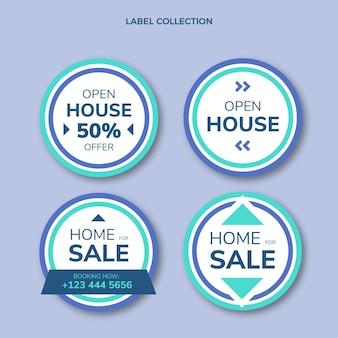 Platte abstracte geometrische onroerend goed labels collectie
