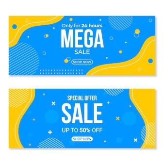 Platte abstracte verkoop banners set