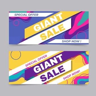 Platte abstracte verkoopbanners met aanbieding